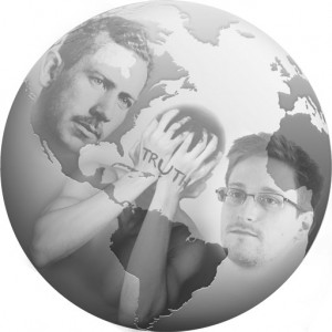 Planet earth globe with Edward Snowden and John Steinbeck