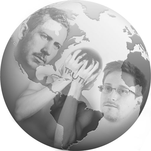 John Steinbeck, fiction writer, and Edward Snowden with truth image superimposed