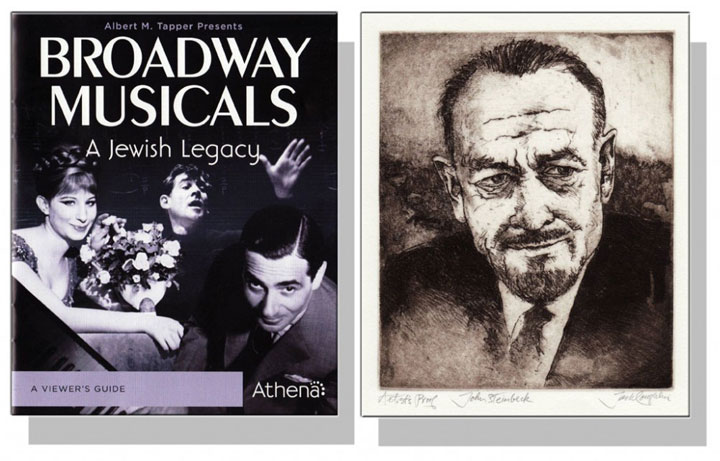 Broadway Musicals, the story of Stephen Sondheim, pictured with an image of John Steinbeck