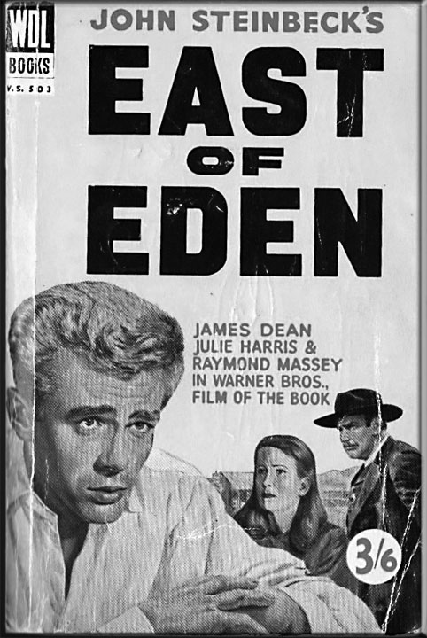 The cover of a British edition of East of Eden