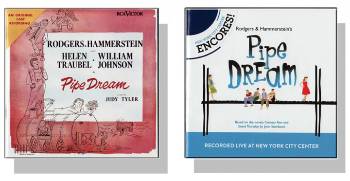 Two CD covers pictured representing the cast recording and remake of Pipe Dream