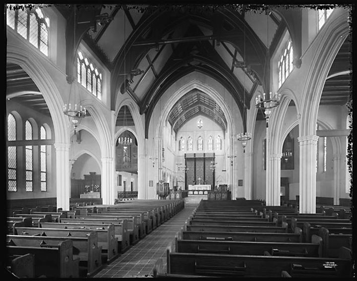 Gothic Episcopal church interior of St. James, Manhattan, pictured