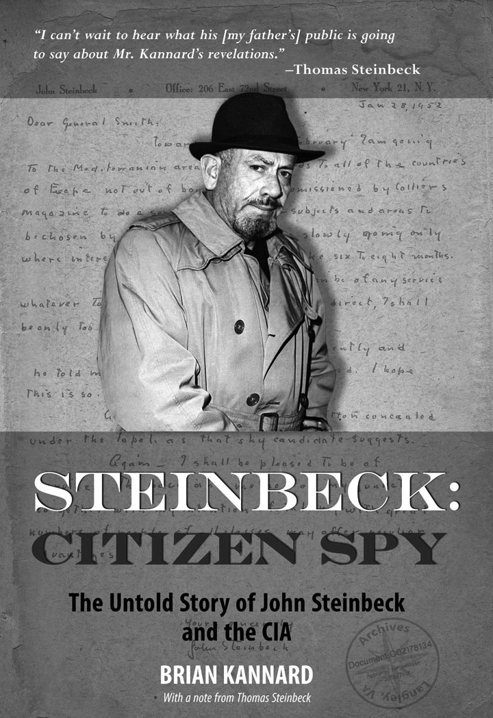 Steinbeck: Citizen Spy book cover shown with subtitle: The Untold Story of John Steinbeck and the CIA