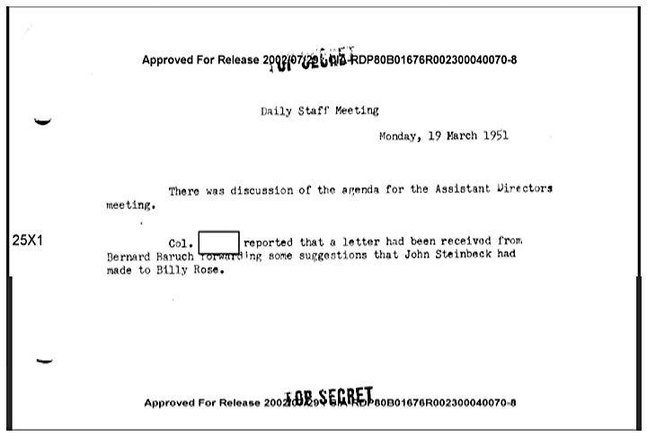 Redacted CIA memo mentioning John Steinbeck shown