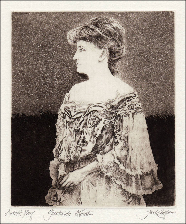 Jack Coughlin's portrait of Gertrude Atherton shown in image