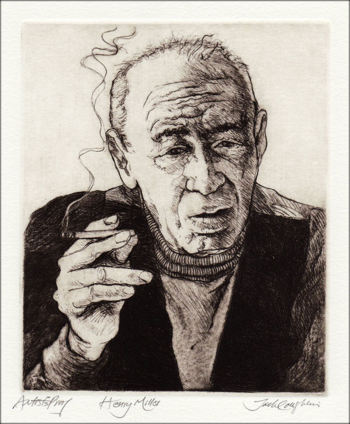 Jack Coughlin's portrait of Henry Miller shown in image