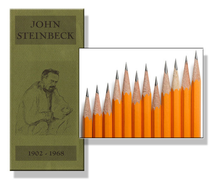 John Steinbeck shown with images of pencils