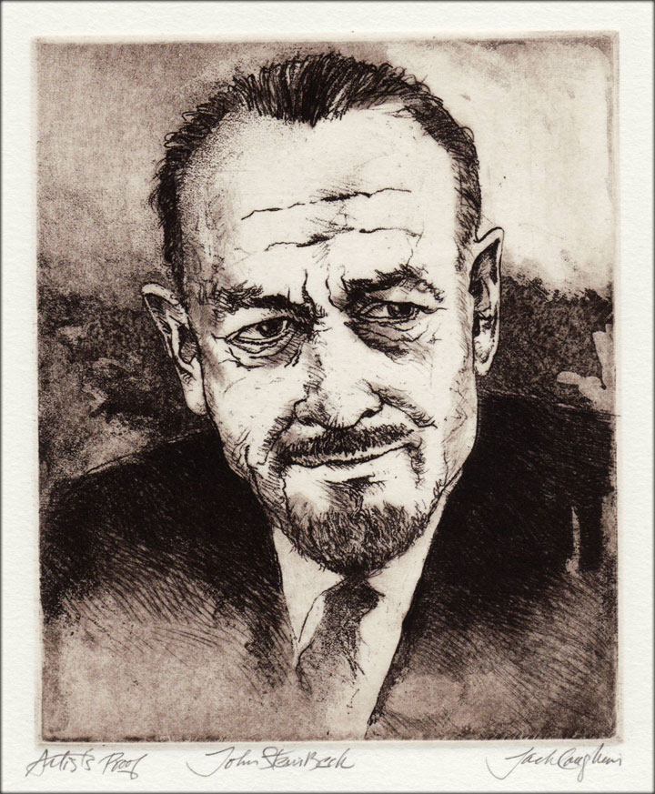 Jack Coughlin's portrait of John Steinbeck shown in image