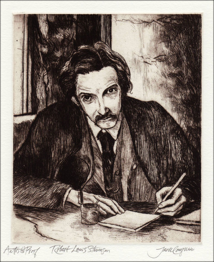 Jack Coughlin's portrait of Robert Louis Stevenson shown in image