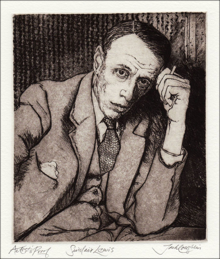 Jack Coughlin's portrait of Sinclair Lewis shown in image