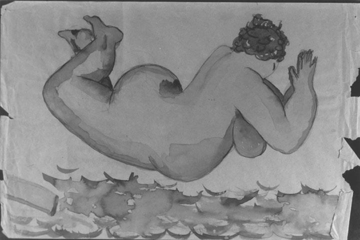 """The Swimmer"" drawing shown from Carol Steinbeck's sportswomen series"