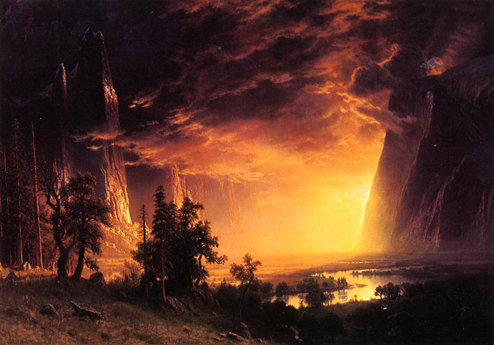 Albert Bierstadt's painting Sunet in the Yosemite shown