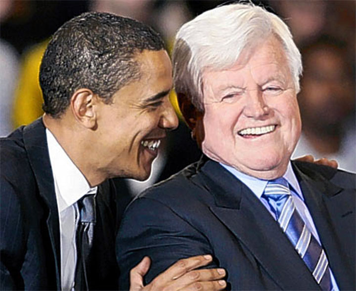 Image of Barack Obama and Ted Kennedy