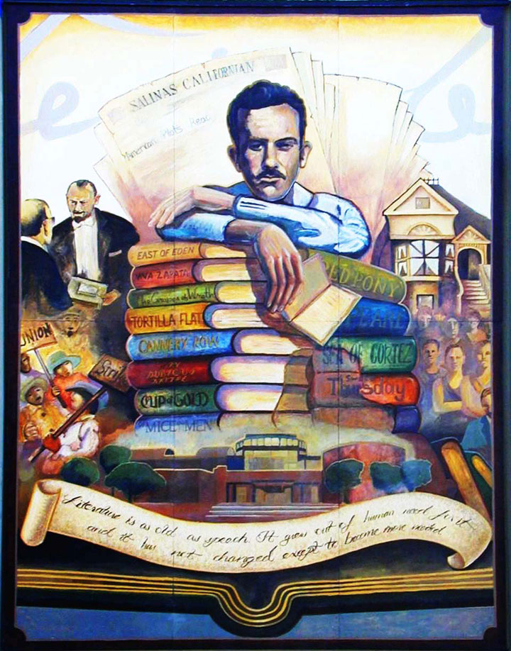 John Steinbeck mural at Salinas Californian Newspaper Building shown