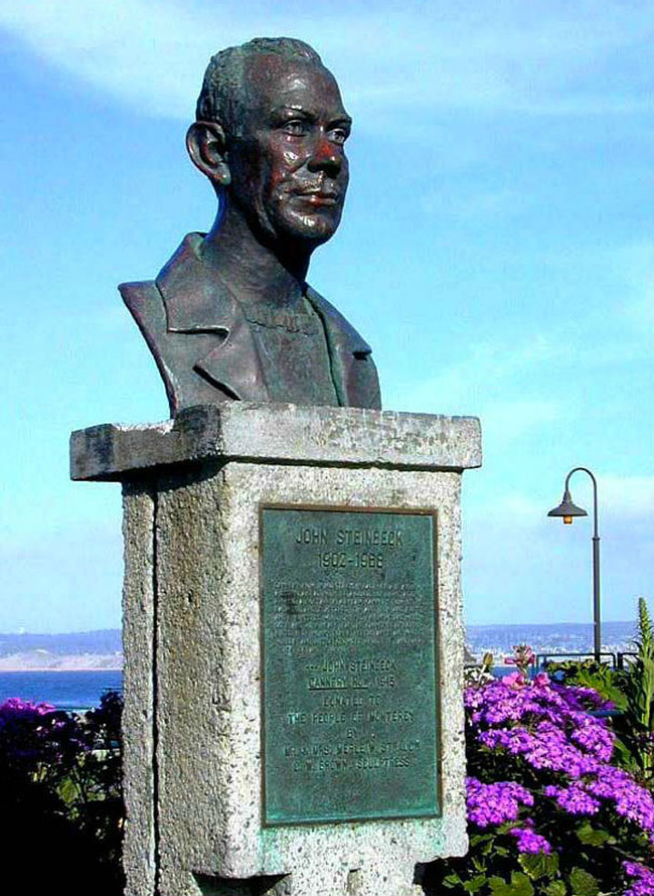 John Steinbeck bust by Carol Brown at Cannery Row shown