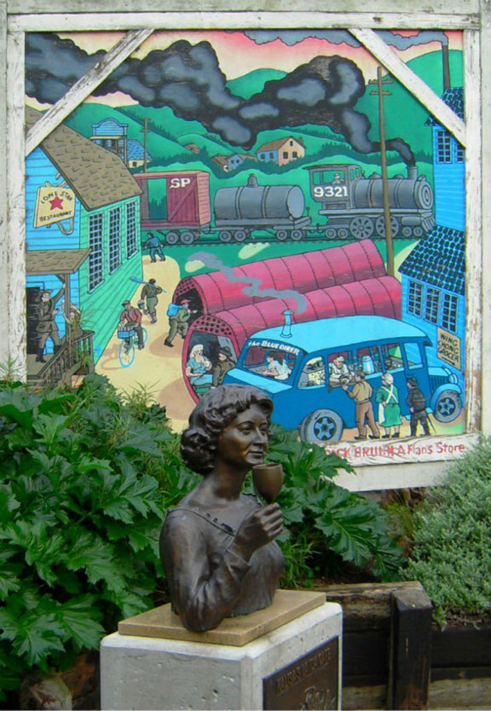 Mural and bust of Kalisa Moore in Monterey shown
