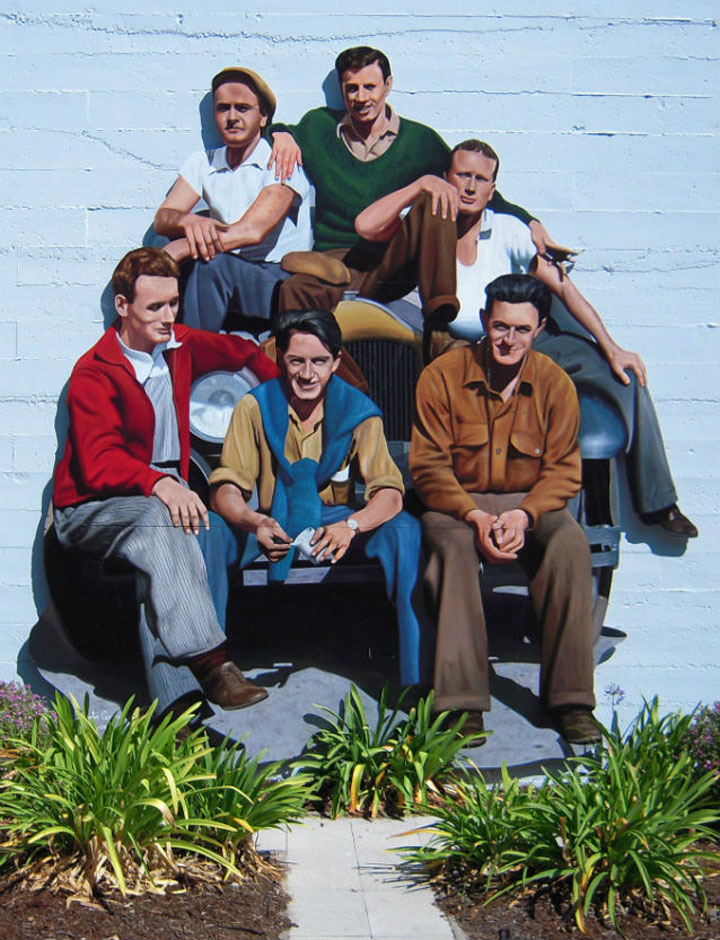 Cannery Row Mural of Mack and the Boys shown