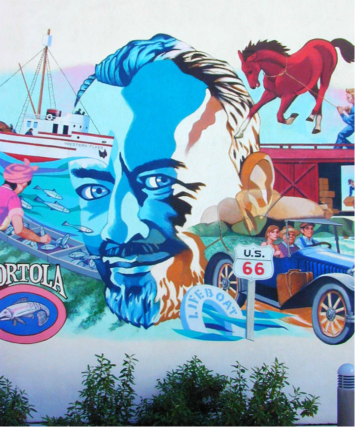 John Steinbeck mural at National Steinbeck Center shown