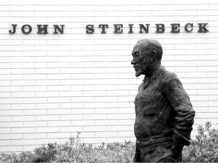 John Steinbeck statue at Salinas Public Library shown