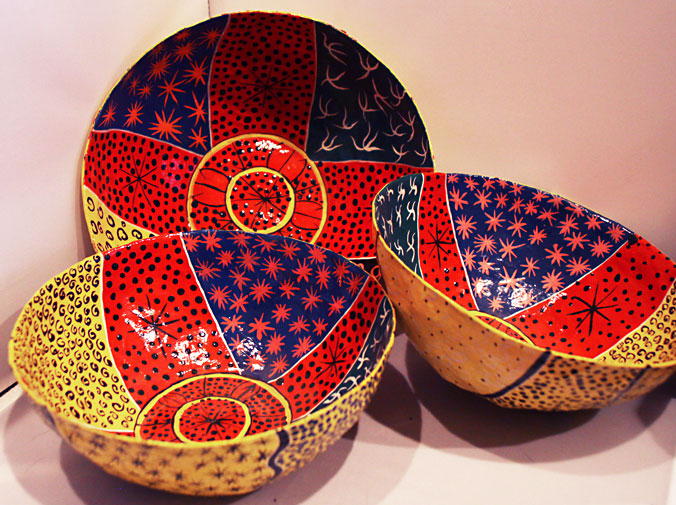 Image of papier-mache bowls by children's art students in Jacmel, Haiti