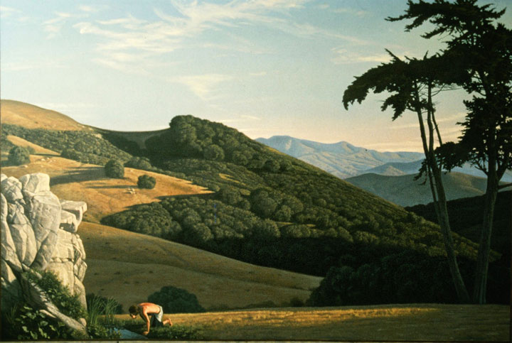 "Image of ""Landscape with a Man Drinking from a Spring,"" painting by David Ligare"