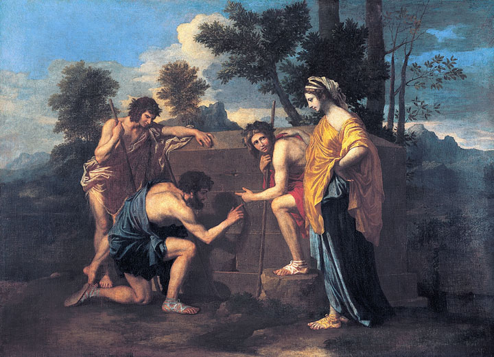 Image of Poussin's painting of a gathering in Arcadia