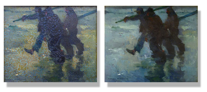 Image of Armin Hansen painting before and after restoration
