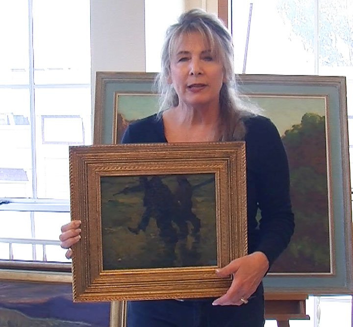 Image of Shelley Cost preparing to restore Armin Hansen painting