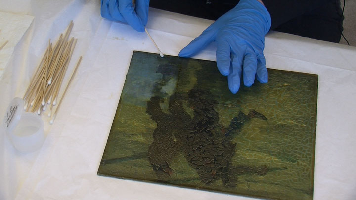 Image of Armin Hansen painting restoration step #8