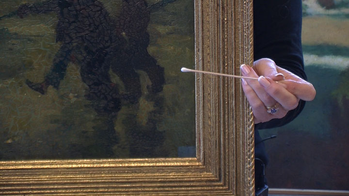 Image of Armin Hansen painting as restoration begins