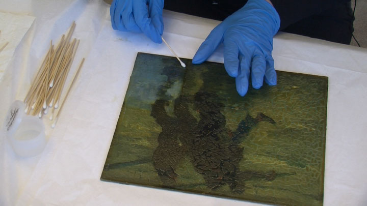 Image of Armin Hansen painting restoration step #7