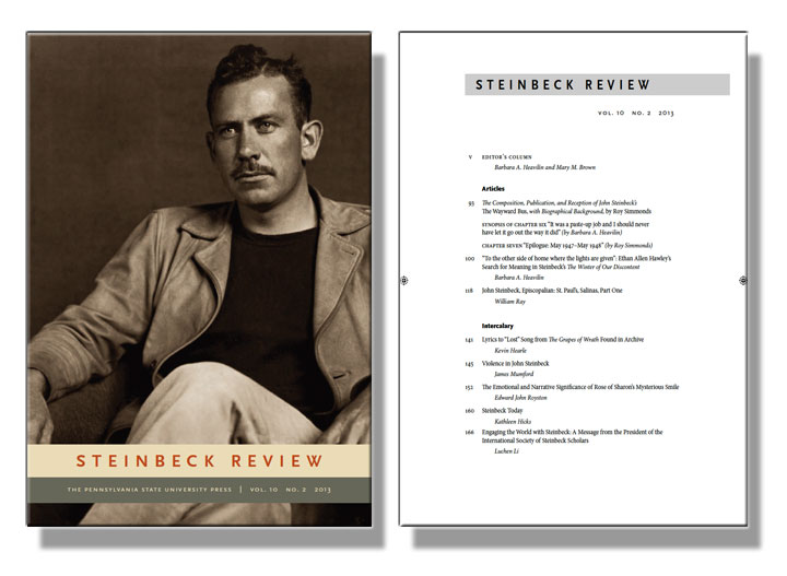 Cover image and contents page of scholarly journal on Steinbeck
