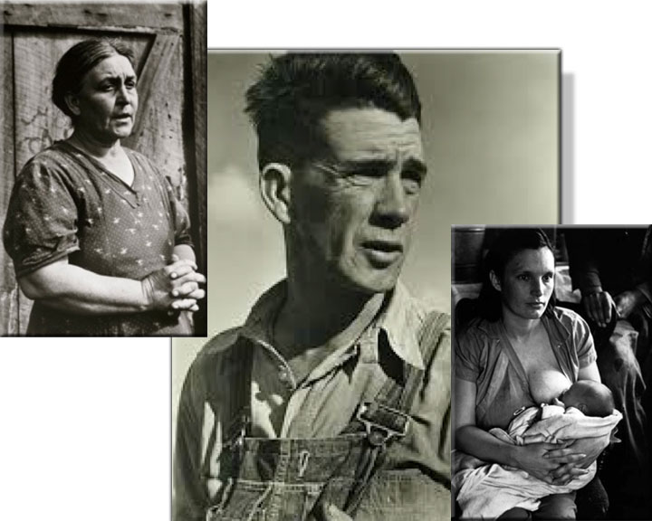 Image of Great Depression photos of migrant Joad figures made by Horace Bristol