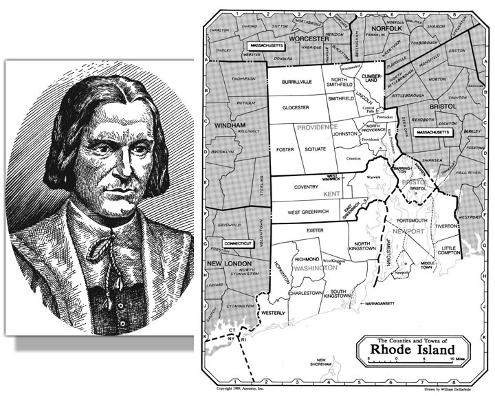 Image of founder Roger Williams with map of Rhode Island