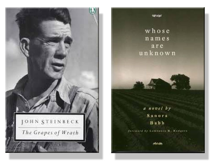 Image of John Steinbeck's Grapes of Wrath and Sanora Babb's Whose Names are Unknown