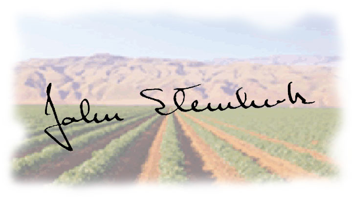 Image of John Steinbeck's signature with Salinas, California farm fields