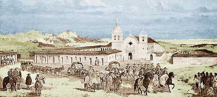 Image of Carmel Mission as it looked in the 18th century
