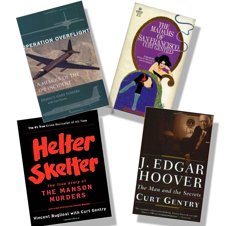 Cover images from Helter Skelter, J. Edgard Hoover, and other books by Curt Gentry