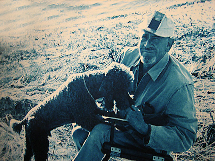 Image of John Steinbeck with the dog made famous by Travels with Charley