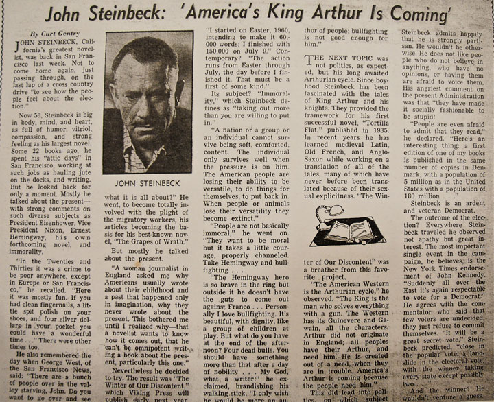 Image of San Francisco Chronicle interview with Steinbeck about Travels with Charley