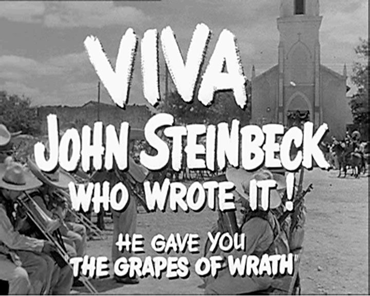 Image of John Steinbeck's screen credit for writing Viva Zapata!