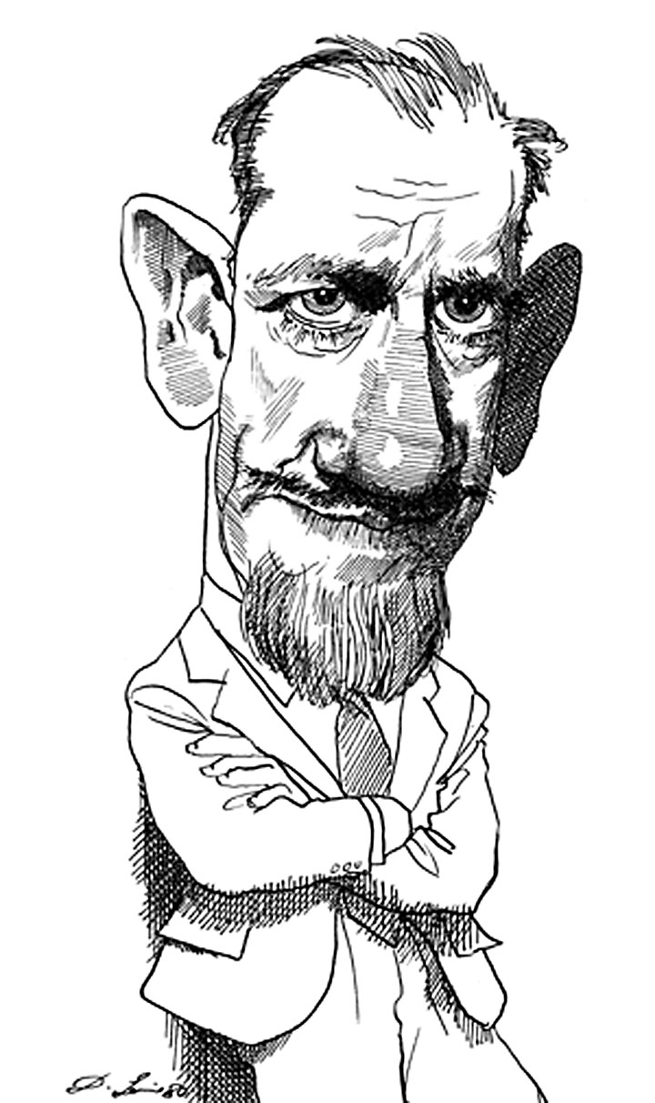 Image of David Levine's caricatures of John Steinbeck