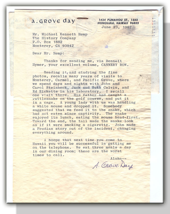 "Image of A. Grove Day's letter about the origin of John Steinbeck's ""The Snake"""