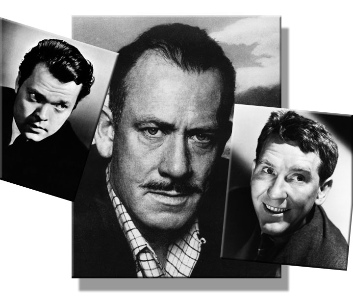 Composite image of Orson Welles, John Steinbeck, and Burgess Meredith