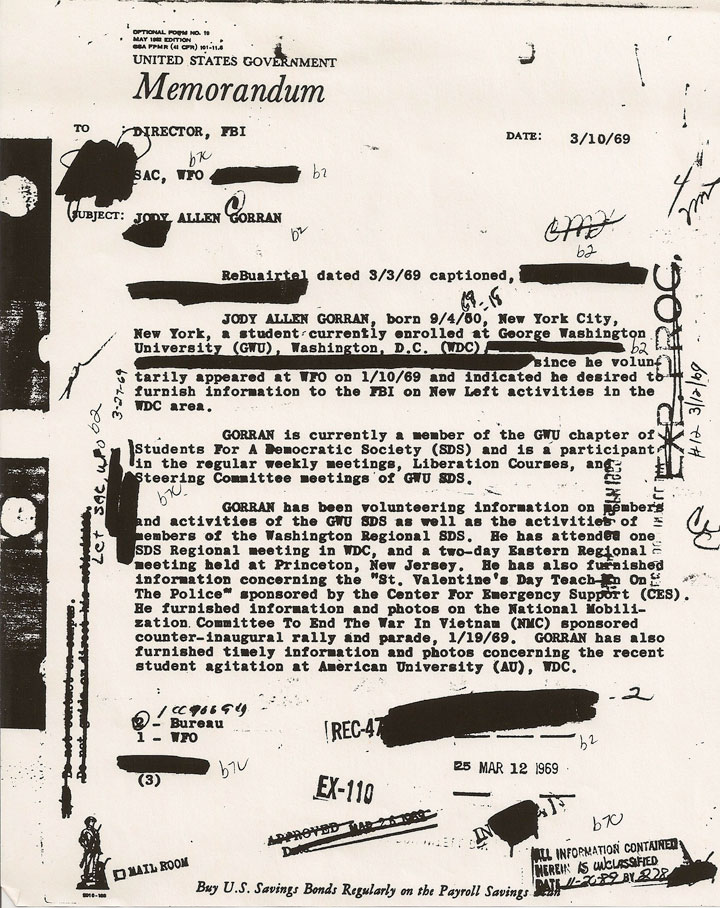 Image of redacted page from Jody Gorran's Federal Bureau of Investigation file