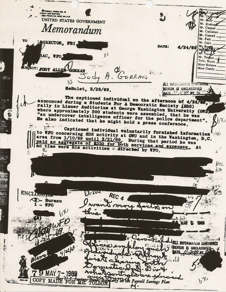 Image of Federal Bureau of Investigation redactions in Vietnam War-Era files