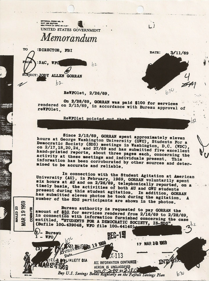 Image of sample from an informant file kept by the Federal Bureau of Investigation