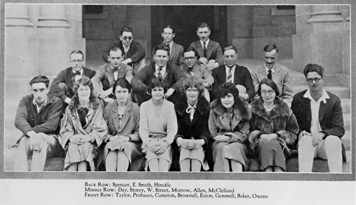 Image of the Stanford English Club with Grove Day and Toby Street