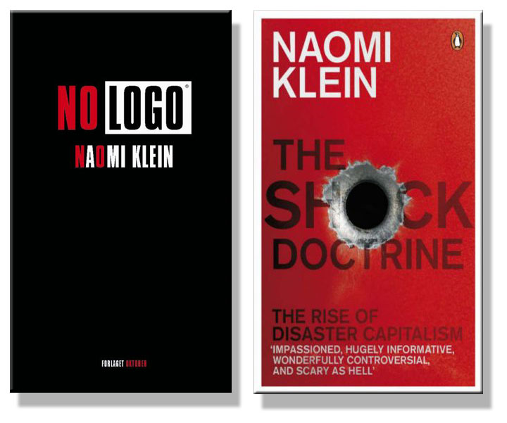 Cover image of Naomi Klein's books, No Logo and The Shock Doctrine