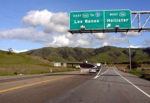 Image of highway exit to Hollister, California